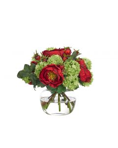 Red and Green Peony Snowball Hydrangea Arrangement in Glass Jar