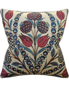 Red and Teal Cornelia Decorative Square Throw Pillow - Available in Two Sizes