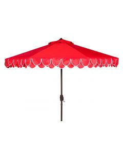 Red Two Tier Scalloped Outdoor Umbrella With White Trim