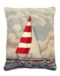 Red & White Sailboat Needlepoint Pillow