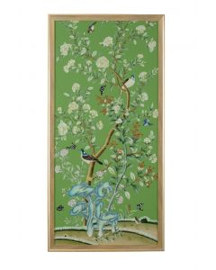 Regent Park In Green II Chinoiserie Panel Framed Wall Art With Birds and Flowers