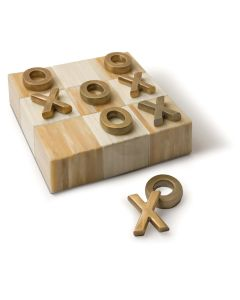 Decorative Flat Tic Tac Toe Board Game with Brass Pieces