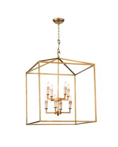 Class Antique 8 Light Gold Cape Lantern Chandelier