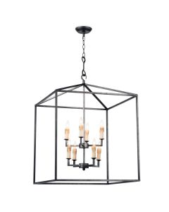 Classic 8 Light Blackened Iron Cape Lantern Chandelier