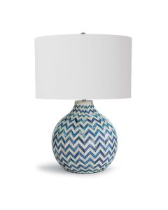 Chevron Bone Table Lamp In Indigo With Linen Shade - ON BACKORDER UNTIL MAY 2020