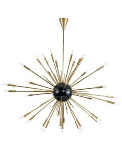 Large Modern Nebula Starburst Chandelier in Black and Natural Brass