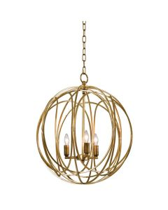 Large Modern Three Light Abstract Globe Chandelier in Gold Leaf