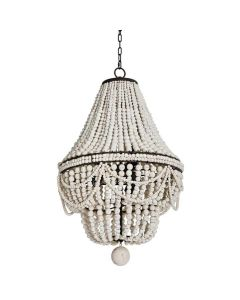 Beaded Chandelier in Weathered White