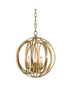 Medium Modern Three Light Abstract Globe Chandelier in Gold Leaf