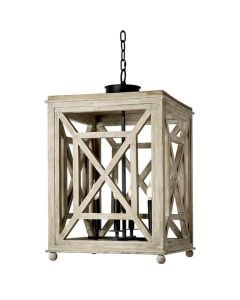 Wood Lattice Lantern Chandelier in Natural - LOW STOCK CALL TO CONFIRM AVAILABILITY