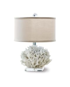 Ribbon Coral Mini Coastal Table Lamp in Natural With Lucite Base and Oyster Shade