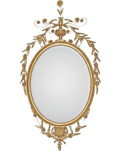 Richly Crested Late 18th Century Oval Adam Wall Mirror in Gold - Available in 4 Sizes and Custom Options