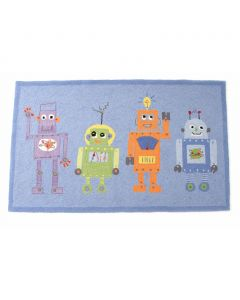 Robot Friends Blue Rug for Kids
