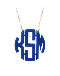 Round Nice Acrylic Block Monogram Necklace