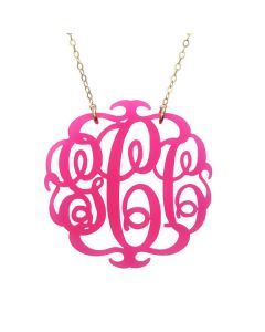 Paris Round Acrylic Script Monogram Necklace