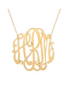 Cheshire Handcut Round Metal Script Monogram Necklace