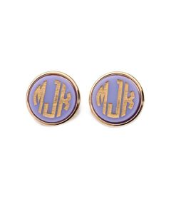 Moon & Lola Vineyard Round Monogram Post Earrings - Available in a Variety of Colors