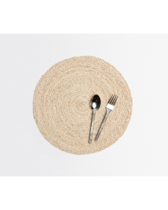 Round Raffia Placemats in Bleached, Set of 4