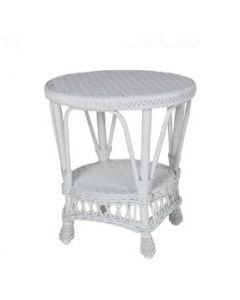 Round Wicker End Table – Available in a Variety of Finishes
