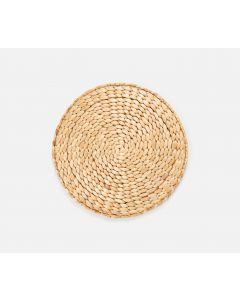 Round Woven Hyacinth Placemats in Natural, Set of 4