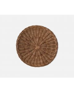 Round Woven Rattan Placemats in Honey, Set of 4