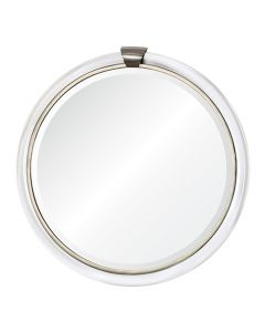 Round Acrylic Wall Mirror with Nickel Accents