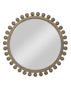 Round Mirror Framed with Solid Mahogany Spheres - ON BACKORDER UNTIL JULY 2021