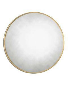 Round Mirror with Antiqued Gold Leaf Frame