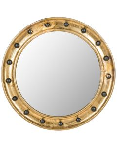 Round Nautical Gold Mirror With Black Faux Nailheads