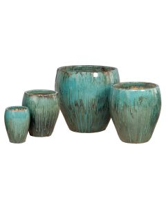 Rounded Ceramic Garden Planter in Teal-Available in Four Different Sizes