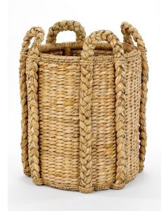 Rush Log Round Storage Basket With Handles