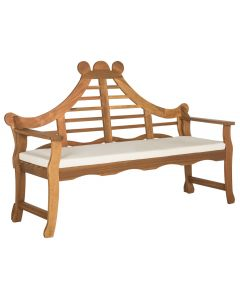 Wales Fancy Lutyen Garden Bench in Teak Brown Finish