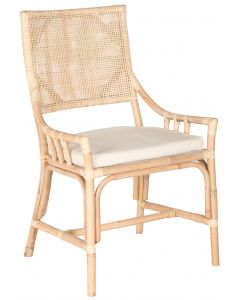 Bermuda Natural White Wash Rattan Armchair With Cushion  - ON BACKORDER UNTIL EARLY OCTOBER 2019