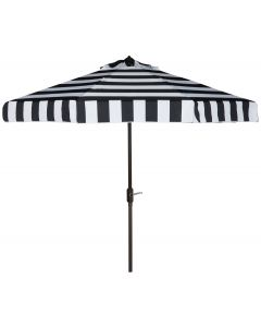 9 Ft Striped Patio Umbrella in Black and White