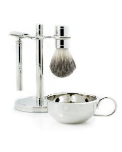 Safety Razor & Pure Badger Brush with Soap Dish on Chrome Stand