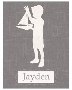 Boy With Sailboat Grey and White Personalized Canvas Wall Art for Kids