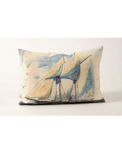 Sailboat Linen Decorative Throw Pillow
