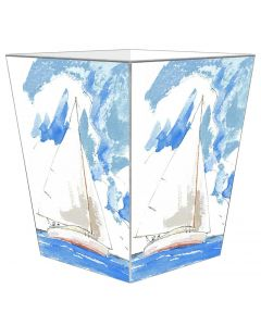 Sailboat Decoupage Wastebasket and Tissue Box Cover