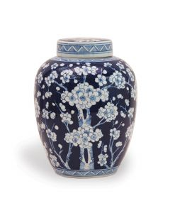 Sakura Hand Painted Porcelain Blue & White Jar - OUT OF STOCK