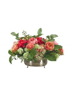 Salmon Pink Green Rose Hydrangea Arranged in Oval Planter