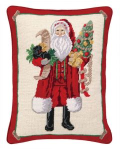 Santa With Puppy Holiday Needlepoint Throw Pillow - LOW STOCK - CALL TO CONFIRM AVAILABILITY