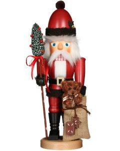 Santa With Teddy Bear Traditional German Nutcracker Christmas Decoration