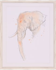 Savannah Elephant Framed Lithograph in Blush