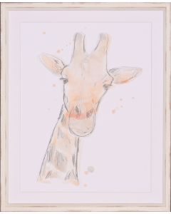 Savannah Giraffe Framed Lithograph in Blush