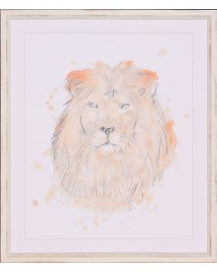 Savannah Lion Framed Lithograph in Blush