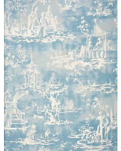 Scalamandre Summer Palace Fabric in Sky Blue & White