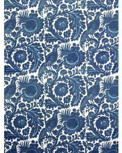 Scalamandre Resist Print Fabric in Light & Dark Blue on White