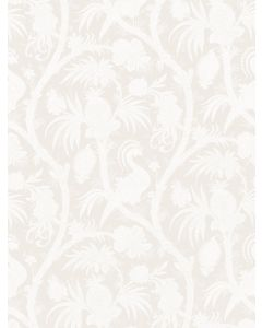 Scalamandre Balinese Peacock Wallcovering in Alabaster