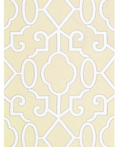 Scalamandre Ming Fretwork Fabric in Alabaster
