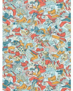 Scalamandre Dragon Dance Chinois Chic Fabric in Multicolor